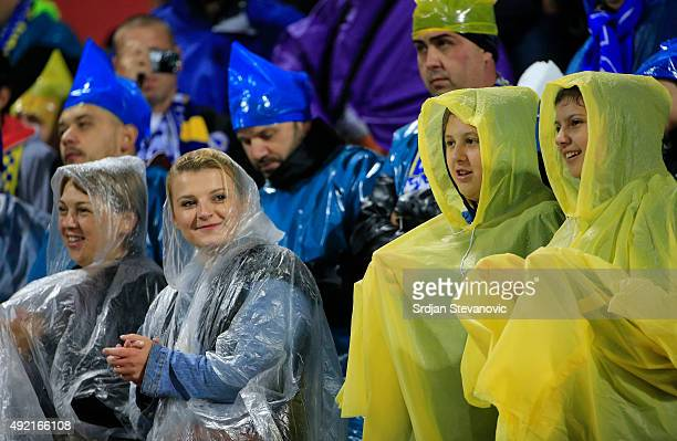 Fans of Bosnia and Herzegovina arrive ahead of the Euro 2016 qualifying football match between Bosnia and Herzegovina and Wales at the Stadium Bilino...