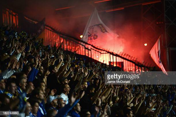 Fans of Bosnia-Herzegovina celebrate a goal during the FIFA 2014 World Cup Qualifying Group G match between Slovakia and Bosnia-Herzegovina at the...