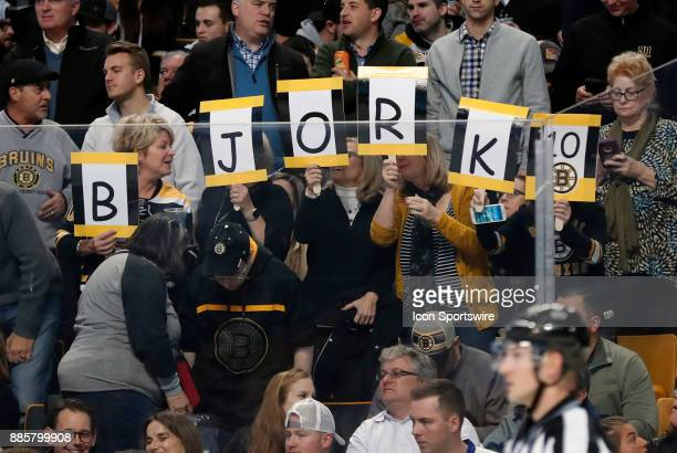 Fans of Boston Bruins left wing Anders Bjork during a game between the Boston Bruins and the Tampa Bay Lightning on November 29 at TD Garden in...