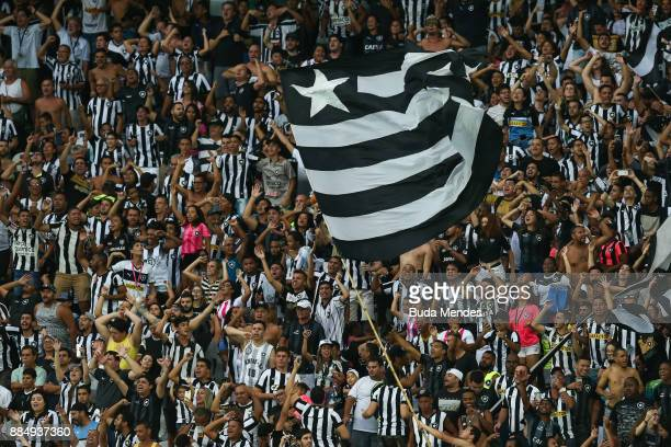 Fans of Botafogo celebrate a scored goal during a match between Botafogo and Cruzeiro as part of Brasileirao Series A 2017 at Nilton Santos Olympic...
