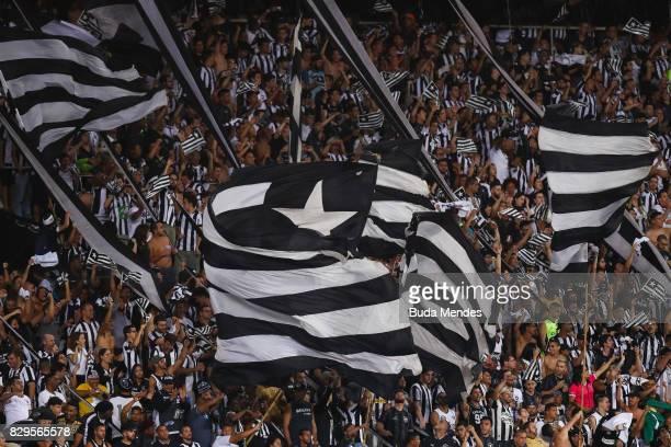 Fans of Botafogo vibrate during a match between Botafogo and Nacional URU as part of Copa Bridgestone Libertadores 2017 at Nilton Santos Olympic...