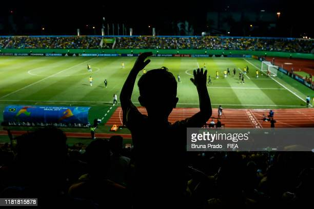 Fans of Brazil cheer during the FIFA U17 Men's World Cup Brazil 2019 match Italy and Brazil at Olimpic Stadium on November 11 2019 in Goiania Brazil
