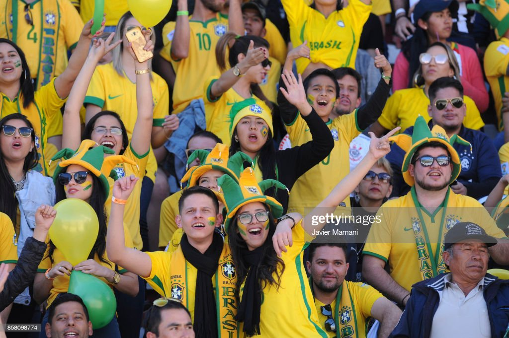 Fans of Brazil cheer for their team during a match between Bolivia and Brazil as part of FIFA 2018 World Cup Qualifiers at Hernando Siles Stadium on October 05, 2017 in La Paz, Bolivia.
