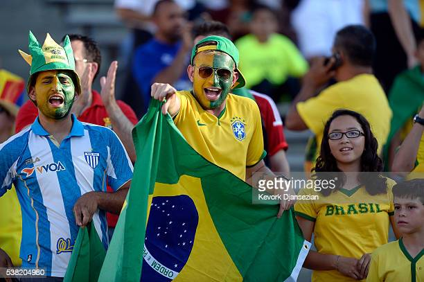 Fans of Brazil during the 2016 Copa America Centenario Group B match between Brazil and Ecuador at the Rose Bowl June 4 Pasadena California
