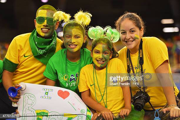 Fans of Brazil look happy during the FIFA Women's World Cup 2015 group E match between Brazil and Spain at Olympic Stadium on June 13 2015 in...