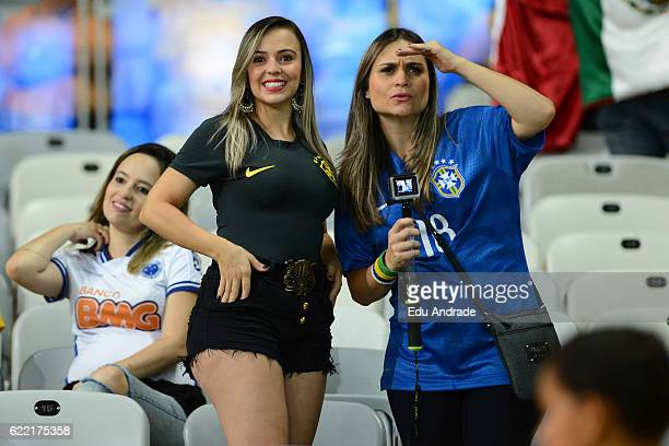 Fans of Brazil pose prior a match between Argentina and Brazil as part of FIFA 2018 World Cup Qualifiers at Mineirao Stadium on November 10 2016 in...