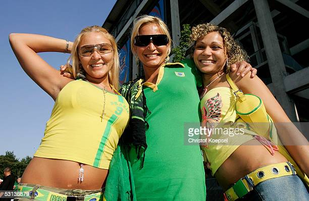 Fans of Brazil smile before the match between Japan and Brazil for the Confederations Cup 2005 at the RheinEnergie Stadium on June 22 2005 in Cologne...