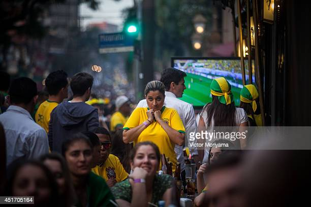 Fans of Brazil the game between Brazil vs Colombia valid in the quarterfinals of the FIFA World Cup in the streets of Vila Madalena neighborhood on...