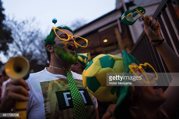 Fans of Brazil the game between Brazil vs Colombia, valid in the quarter-finals of the FIFA World Cup in the streets of Vila Madalena neighborhood,...