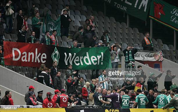 Fans of Bremen celebrates during the UEFA Cup round of 32 second leg match between SC Braga and Werder Bremen at the stadium Municipal on February 21...
