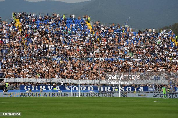 Fans of Brescia Calcio exhibit a giant banner to support the Bologna head coach Sinisa Mihajlovic during the Serie A match between Brescia Calcio and...