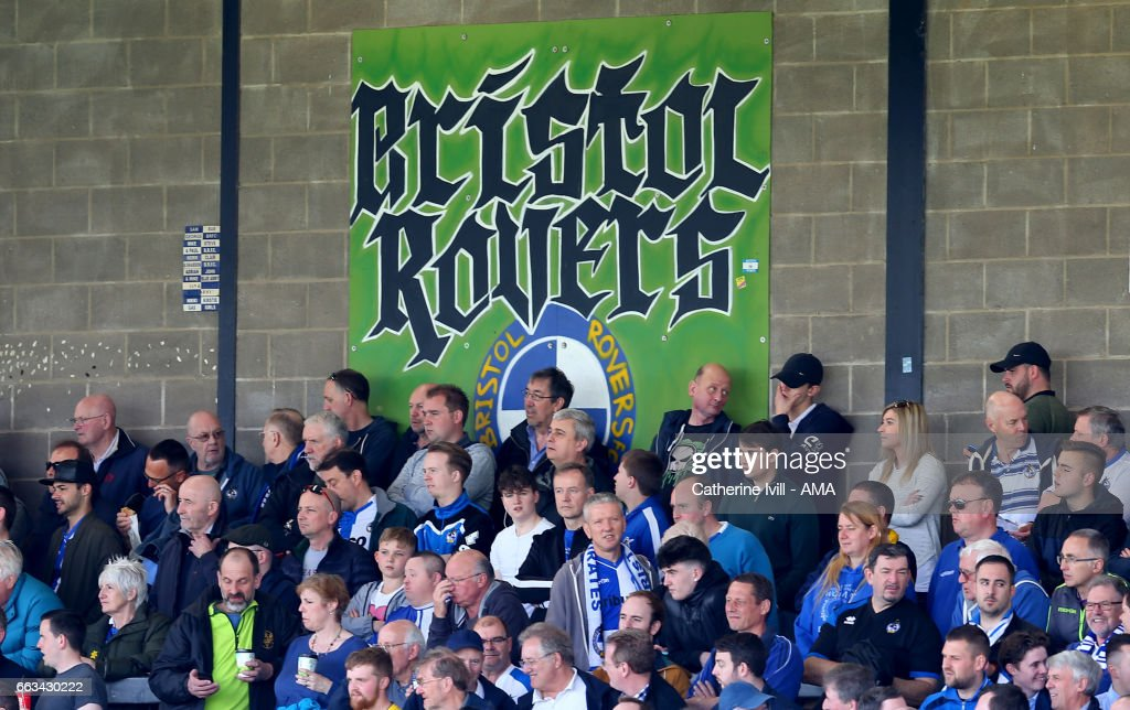 Fans of Bristol Rovers during the Sky Bet League One match between Bristol Rovers and Shrewsbury Town at Memorial Stadium on April 1, 2017 in Bristol, England.