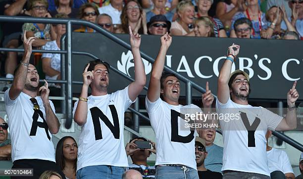 Fans of Britain's Andy Murray watch his match against Spain's David Ferrer during their men's singles game on day ten of the 2015 Australian Open...