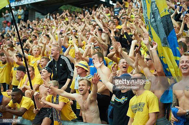 Fans of Brondby IF celebrating after the Danish Alka Superliga match between AGF Arhus and Brondby IF at Ceres Park on August 21 2016 in Arhus Denmark