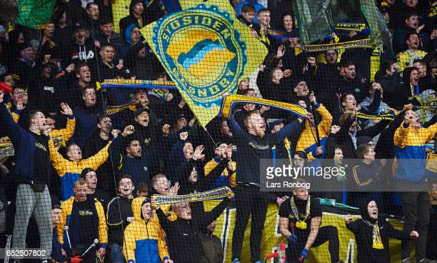 Fans of Brondby IF cheer after the Danish Alka Superliga match between AC Horsens and Brondby IF at Casa Arena Horsens on March 12 2017 in Horsens...