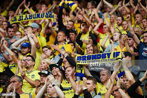 Fans of Brondby IF cheer after the Danish Alka Superliga match between Brondby IF and FC Copenhagen at Brondby Stadion on August 28 2016 in Brondby...