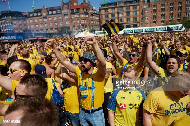 Fans of Brondby IF cheer and walking in the streets to the stadium prior to the Danish DBU Pokalen Cup Final match between Brondby IF and Silkeborg...
