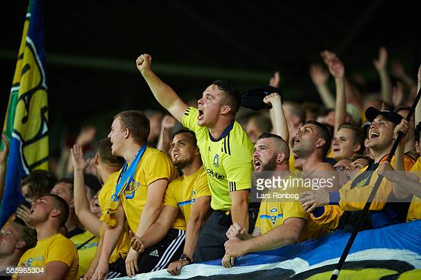 Fans of Brondby IF cheer during the UEFA Europa League qualifier match between Brondby IF and Hertha Berlin at Brondby Stadion on August 4 2016 in...