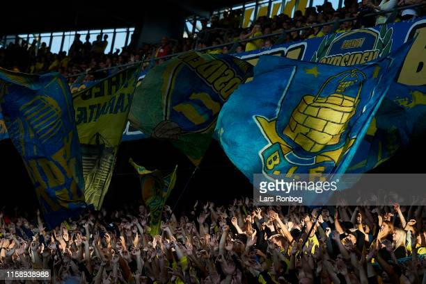 Fans of Brondby IF cheer with banners and flags during the UEFA Europa League qual. Match between Brondby IF and Lechia Gdansk at Brondby Stadion on...