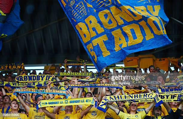 Fans of Brondby IF cheer with flags anf tifo during the UEFA Europa League playoff 1st leg match between Brondby IF and Panathinaikos at Brondby...