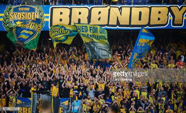 Fans of Brondby IF cheer with flags during the UEFA Europa League Qual match between Brondby IF and Hajduk Split at Brondby Stadion on July 27 2017...