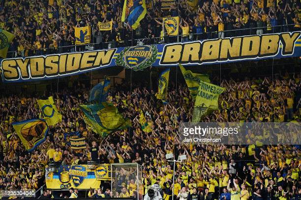 Fans of Brondby IF cheering at the stands prior to the UEFA Europa League match between Brondby IF and AC Sparta Praha at Brondby Stadion on...