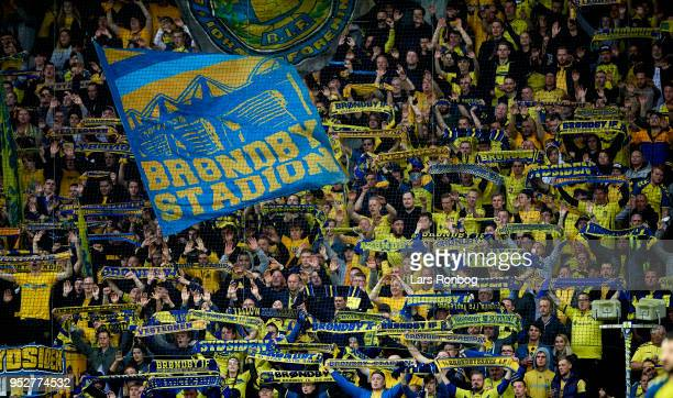 Fans of Brondby IF cheers during the Danish Alka Superliga match between Brondby IF and FC Nordsjalland at Brondby Stadion on April 29 2018 in...