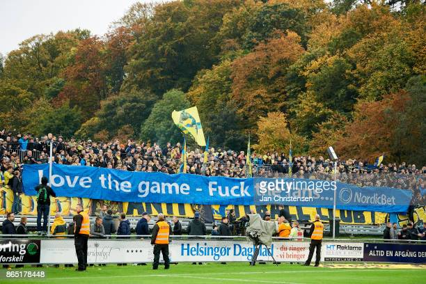 Fans of Brondby IF doing a demonstration prior to the Danish Alka Superliga match between FC Helsingor and Brondby IF at Helsingor Stadion on October...