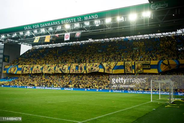 Fans of Brondby IF doing a flag tifo prior to the Danish Cup Final Sydbank Pokalen match between Brondby IF and FC Midtjylland at Telia Parken...