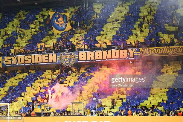 Fans of Brondby IF doing a tifo prior to the UEFA Europa League match between Brondby IF and AC Sparta Praha at Brondby Stadion on September 16, 2021...
