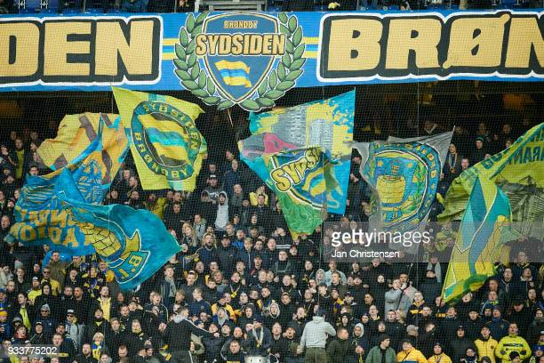 Fans of Brondby IF during the Danish Alka Superliga match between Brondby IF and Hobro IK at Brondby Stadion on March 18 2018 in Brondby Denmark