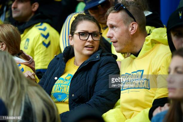 Fans of Brondby IF have fun together prior to the Danish Cup Final Sydbank Pokalen match between Brondby IF and FC Midtjylland at Telia Parken...