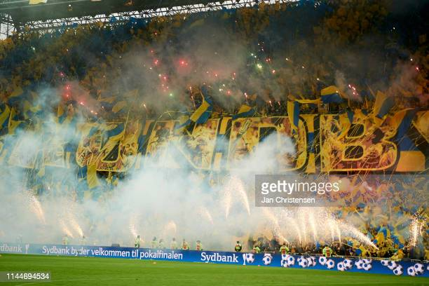 Fans of Brondby IF ignites fireworks prior to the Danish Cup Final Sydbank Pokalen match between Brondby IF and FC Midtjylland at Telia Parken...
