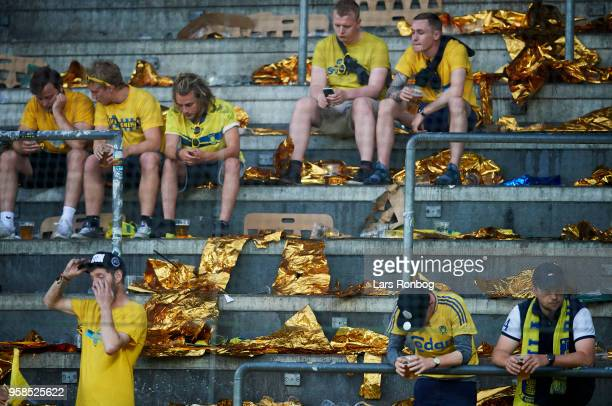 Fans of Brondby IF looking dejected after the Danish Alka Superliga match between Brondby IF and FC Midtjylland at Brondby Stadion on May 14 2018 in...