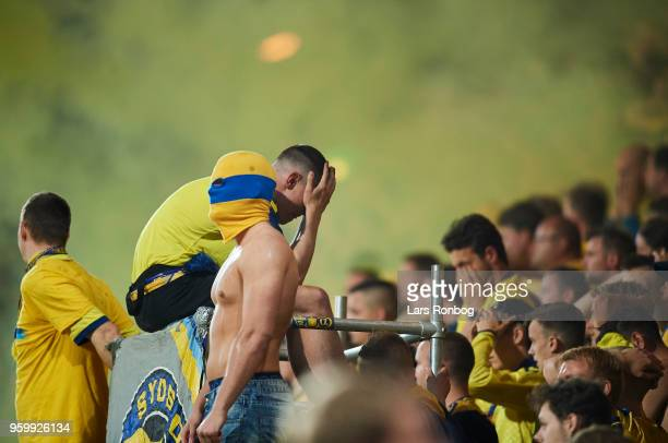Fans of Brondby IF looking dejected after the Danish Alka Superliga match between AC Horsens and Brondby IF at CASA Arena Horsens on May 18 2018 in...