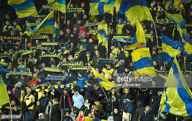 Fans of Brondby IF prior to the Danish Alka Superliga match between Brondby IF and Silkeborg IF at Brondby Stadion on November 27 2016 in Brondby...