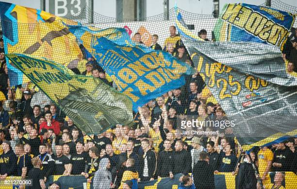 Fans of Brondby IF prior to the Danish Alka Superliga match between FC Nordsjalland and Brondby IF at Right to Dream Park on July 23 2017 in Farum...