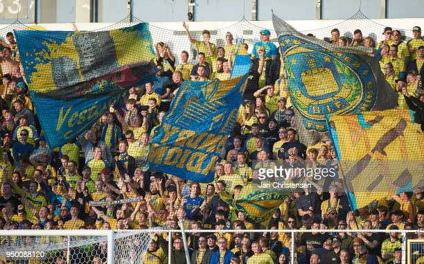 Fans of Brondby IF prior to the Danish Alka Superliga match between FC Nordsjalland and Brondby IF at Right to Dream Park on April 22 2018 in Farum...