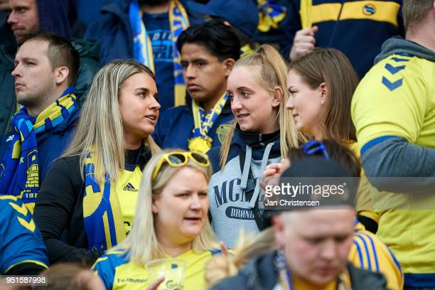 Fans of Brondby IF prior to the Danish DBU Pokalen Cup Semifinal match between Brondby IF and FC Midtjylland at Brondby Stadion on April 26 2018 in...