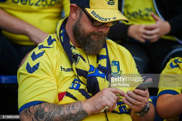 Fans of Brondby IF prior to the UEFA Europa League Qualification match between Brondby IF and VPS Vaasa at Brondby Stadion on July 13 2017 in Brondby...