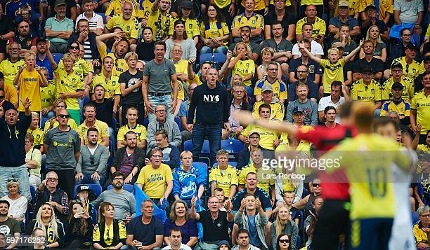 Fans of Brondby IF show frustration during the Danish Alka Superliga match between Brondby IF and FC Copenhagen at Brondby Stadion on August 28 2016...