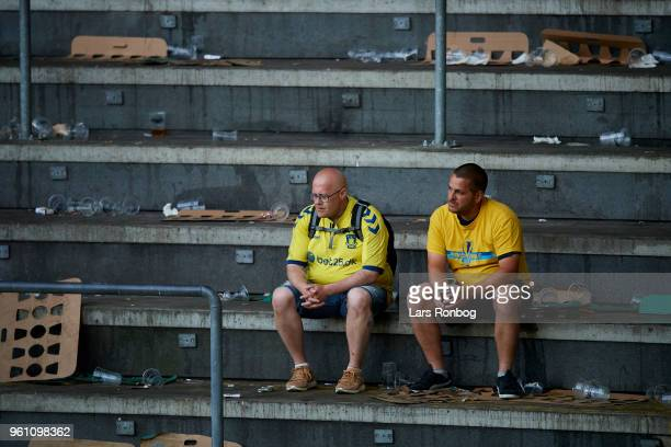 Fans of Brondby IF toking dejected after the Danish Alka Superliga match between Brondby IF and AaB Aalborg at Brondby Stadion on May 21 2018 in...