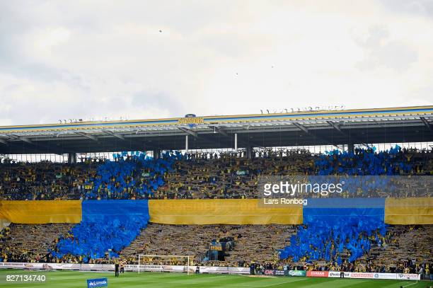 Fans of Brondby IF with a tifo prior to the Danish Alka Superliga match between Brondby IF and FC Copenhagen at Brondby Stadion on August 6 2017 in...