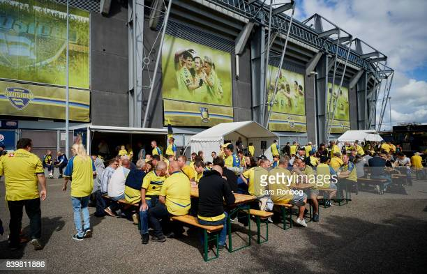 Fans of Brondfby IF in the fanzone prior to the Danish Alka Superliga match between Brondby IF and AC Horsens at Brondby Stadion on August 27 2017 in...