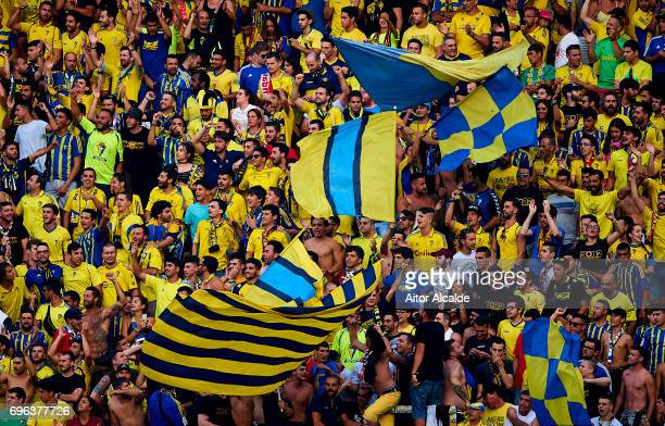 Fans of Cadiz FC support their team during La Liga Segunda Division between Cadiz CF and CD Tenerife at Estacio Ramon de Carranza on June 15, 2017 in...