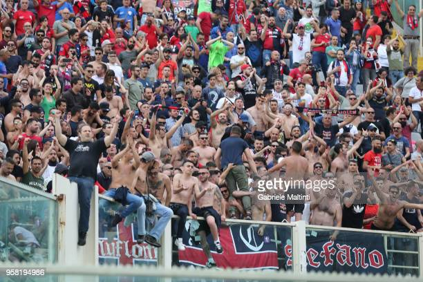 Fans of Cagliari Calcio during the serie A match between ACF Fiorentina and Cagliari Calcio at Stadio Artemio Franchi on May 13 2018 in Florence Italy