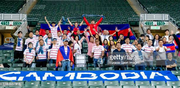 Fans of Cambodia cheer during the FIFA World Cup Asian Qualifier second round match between Hong Kong and Cambodia on November 19 2019 in Hong Kong...