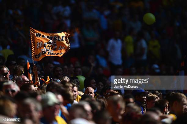Fans of Cambridge United show their colours during the Skrill Conference Premier PlayOffs Final between Cambridge United and Gateshead FC at Wembley...