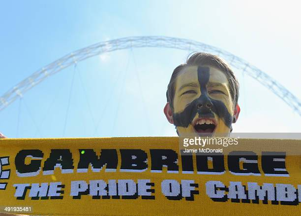 Fans of Cambridge United show their colours prior to the Skrill Conference Premier PlayOffs Final between Cambridge United and Gateshead FC at...