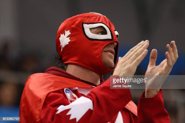 Fans of Canada cheer in the third period against Germany during the Men's Playoffs Semifinals on day fourteen of the PyeongChang 2018 Winter Olympic...